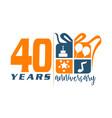 40 year gift box ribbon anniversa vector image vector image