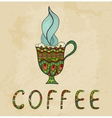 Artistic coffee cup with smoke doodle vector image