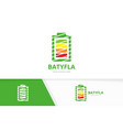 battery logo combination energy symbol or vector image
