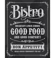 bistro vintage chalkboard poster sign vector image vector image
