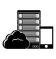 black database hosting and tuning smartphone image vector image vector image