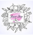 bouquet of hibiscus flowers and leaves vector image