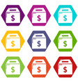 box money icons set 9 vector image