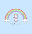 cartoon unicorn swinging on a rainbow vector image vector image