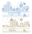 City birds buildings cathedrals vector image
