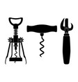 corkscrews and can opener black drawing vector image vector image
