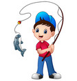 cute cartoon boy fishing vector image vector image
