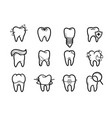 dentistry outline icons set vector image