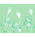 Eco Friendly Backdrop with Flowers and Plugs vector image