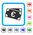 euro banknotes framed icon vector image vector image