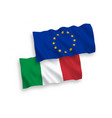 flags of italy and european union on a white vector image vector image