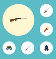flat icons lighter weapon zoom and other vector image vector image