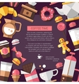 Flyer of modern flat design coffee-shop cafe and vector image