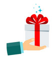 gift surprise in hand vector image