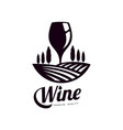 glass of wine on background of vineyard field icon vector image vector image