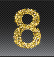 gold glittering number eight shining golden vector image vector image