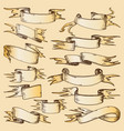 hand drawn ribbons old fashioned paper vector image vector image