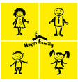 happy family hand drawing vector image vector image