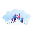 happy family parents with kids making funny vector image vector image