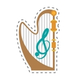 harp musical instrument concert dotted line vector image vector image