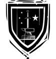 heraldic shield sword and anvil vector image vector image
