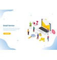 isometric email service or services concept for vector image vector image