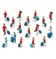 isometry set passengers stewardess girl pilots vector image