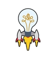 light bulb rocket start up innovation icon vector image vector image