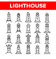 lighthouse sea beacon linear icons set vector image