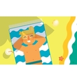 Man sunbathes on the beach under sun vector image