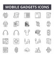 mobile gadgets concept line icons signs vector image vector image