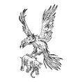 mythical phoenix fire bird or antique roc ancient vector image