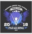 paragliding sport emblem vector image vector image