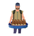 pitchman with hawker tray vector image vector image