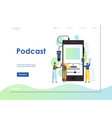 podcast website landing page design vector image vector image