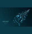 polygonal wireframe mesh futuristic with rocket vector image