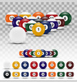 realistic 3d billiard balls with shadows vector image vector image