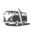 Retro Travel bus with surfboard Side view vector image