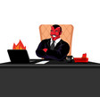 satan boss sitting in office devil of workplace vector image vector image