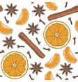 seamless pattern orange slices tangerine spices vector image vector image