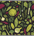 seamless pattern with green vegetables salad vector image