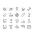 set garbage line icons waste factory trash vector image