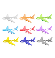 Set of Commercial Airplane Icons vector image vector image