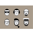 set of icons of male stylized faces vector image vector image