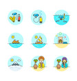 set of multicolor travel icons vector image