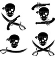 set of pirates skulls stencils vector image vector image