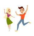 set of teenagers in casual clothing dances vector image vector image