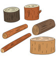 set of wooden timber vector image