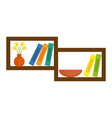 shelf with decorative objects vector image