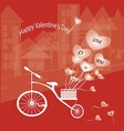 The bike features a heart balloon vector image vector image